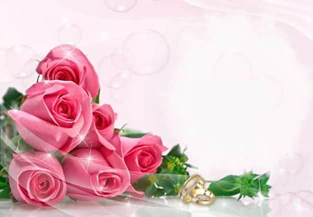 Ramo rosas rosas con alianzas de boda