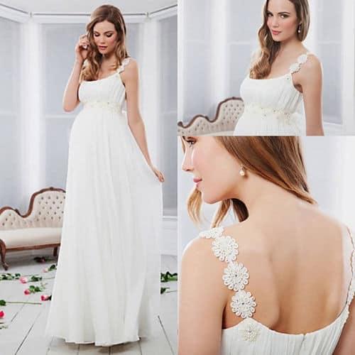 Vestido de novia con detalle en tirantes