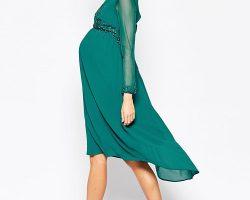 Vestido de novia embarazada en color verde