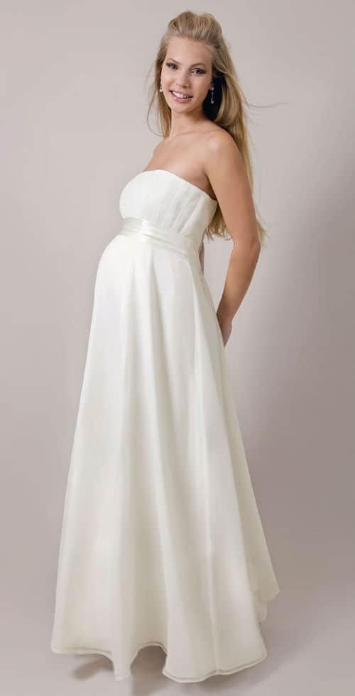 Vestido sencillo escotado novia embarazada