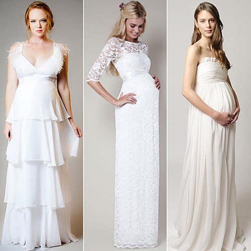 Vestidos largos novia embarazada en boda civil