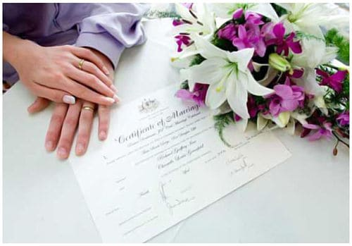 Certificado de matrimonio civil