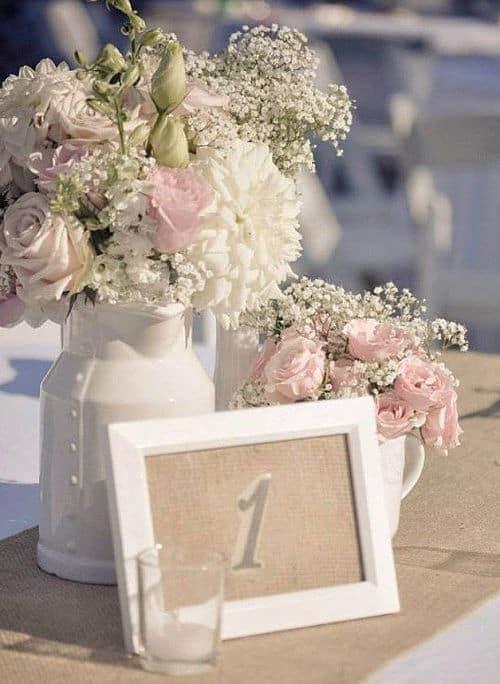 Florero con marco de fotos para centro de mesa
