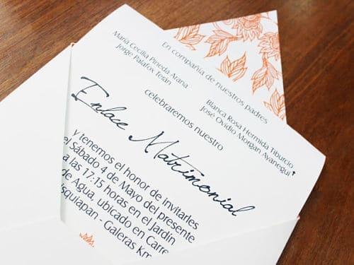 Invitación de boda escrita