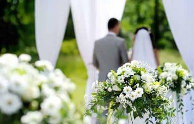 Decoración floral de una boda