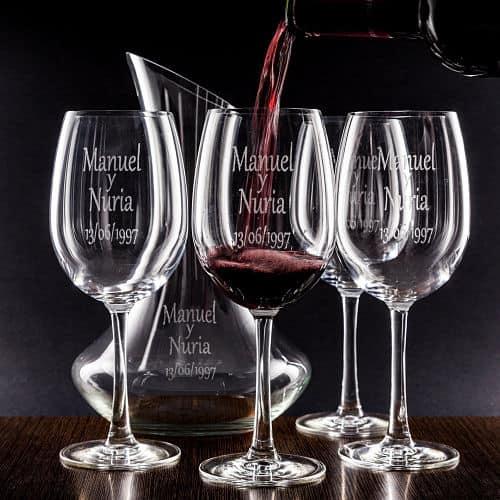 Set decantador y copas de vino para regalar a los novios
