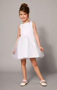 Vestido blanco de satén y muselina