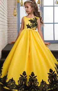 Vestido de dama de honor amarillo y negro