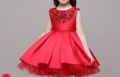 Vestido rojo de ceremonia para damita de honor