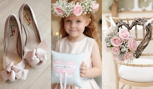 Decoración en rosa para bodas de marfil