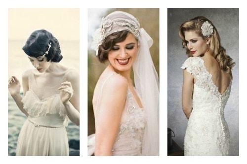 Peinados para novia vintage con pelo corto