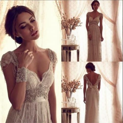 Vestido para novia vintage con encaje y pedrería