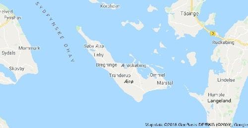 Mapa de la isla de Aeroe