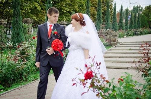 Recién casados enamorados