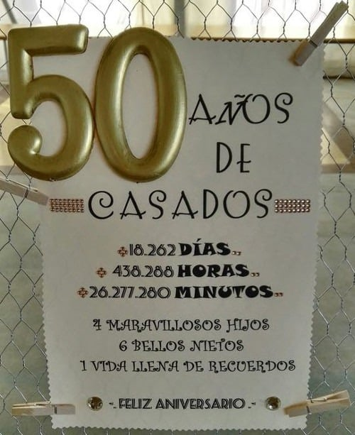 Tarjeta recuerdos 50 años de casados